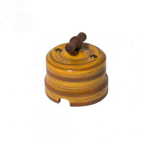 Выключатель 1-кл (проходной) Lindas одинарный декор Бамбук 34025