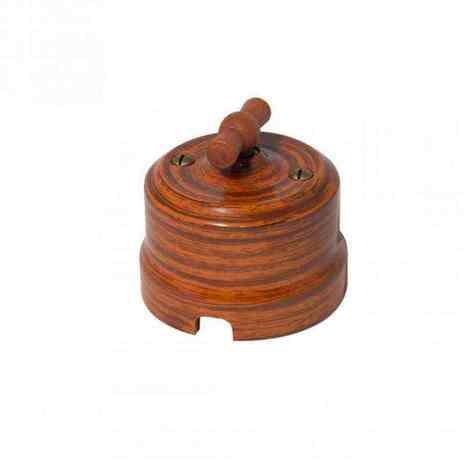 Выключатель 1-кл (проходной) Lindas одинарный декор Орех 34026