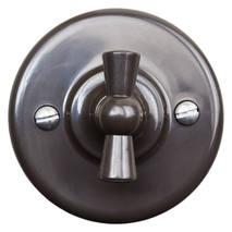 B1-202-22 Bironi Выключатель 2-х клавишный (4 положения) пластик, коричневый