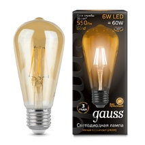 Лампа светодиодная Gauss колба прозрачная E27 6W 2400K 102802006