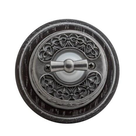 """Выключатель 1-кл (проходной) OP11DN.WT поворотный 2-х позиционный для наружного монтажа с декоративной накладкой """"состаренное серебро"""", белый"""