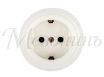 Розетка фарфоровая, двухполюсная, с заземляющим контактом ( D70x45), цвет - белый, МезонинЪ GE70301-01
