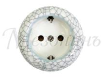 Розетка фарфоровая , двухполюсная, с заземляющим контактом ( D70x45),цвет - Affresco, МезонинЪ GE70301-23