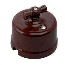 Старинный выключатель двухклавишный, цвет коричневый, R-SW-22