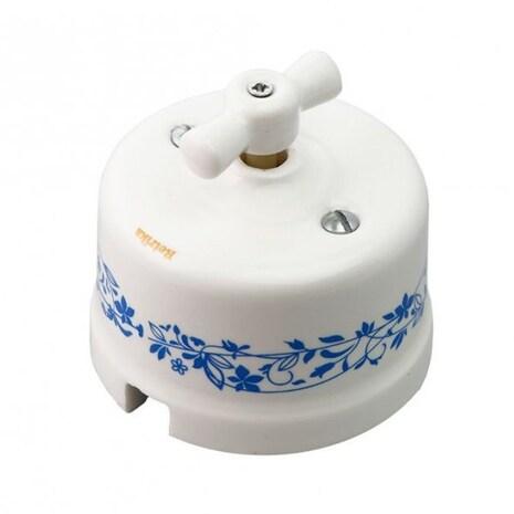 Выключатель 1-кл (проходной), декор синий №1 Retrika арт.R-SW-103