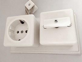 Выключатель 1-кл (проходной) ретро фарфоровый квадратный белый Мезонин GE80404-01