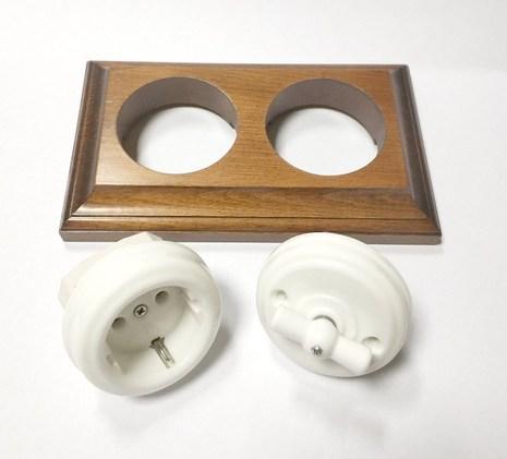 Выключатель 1-кл (проходной) винтажный поворотный фарфоровый на 4 положения (без подъемной рамки, D70x35, 10А, 250В, IP20), цвет - белый, МезонинЪ, GE70401-01К