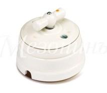 Выключатель 1-кл (проходной) фарфоровый поворотный на два положения (D70x60), цвет -платина на белом, коллекция ПЕТЕРГОФ, МезонинЪ GE70404-49