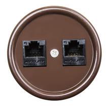 В1-302-22 Bironi Компьютерная розетка RJ45*2, коричневый
