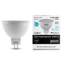Лампа светодиодная Gauss полусфера матовая GU5.3 5.5W 4100К 13526