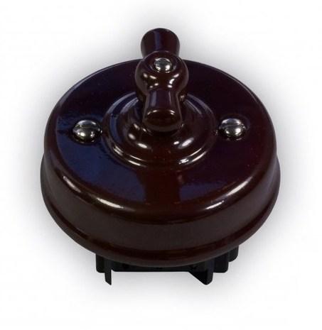 Выключатель 1-кл (проходной) Ideal, коричневый Retrika арт.R1-SW-12