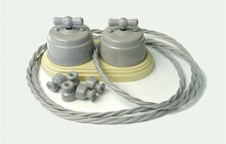 """Выключатель 1-2 кл (проходной) поворотный керамический interior electric, серия """"арбат"""", 220/10а, серый ВПК-06"""