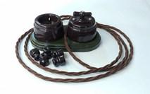 """Выключатель 1-2 кл (проходной) поворотный керамический interior electric, серия """"арбат"""", 220/10а, шоколад (коричневый)  ВПК-04"""