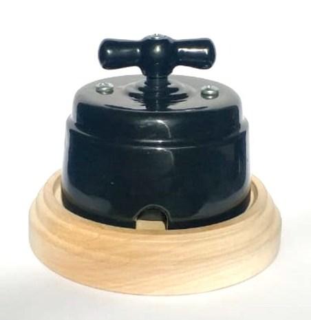 """Выключатель 1-2 кл (проходной) поворотный керамический interior electric, серия """"арбат"""", 220/10а, черный РСЗК-05-2"""