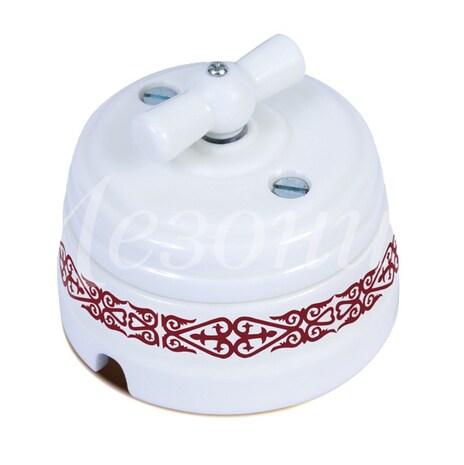 Выключатель 1-кл (проходной) старинный в стиле ретро поворотный фарфоровый на 4 положения (D70x60, 10А, 250В, IP20), цвет - медео пурпур, МезонинЪ, коллекция Ornament, GE70401-78