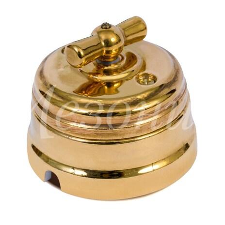 Выключатель 1-кл (проходной) старинный в стиле ретро фарфоровый поворотный на 2 положения (D70x60, 10А, 250В, IP20), цвет - золото, МезонинЪ, коллекция Самсон, GE70404-30