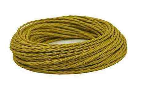 Провод витой ПВХ, в полиэфирной оплетке, (ПРВ 3-4.0), цвет шафран Interior Wire