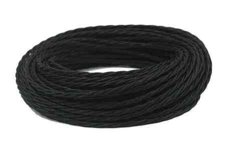 Провод витой ПВХ, в полиэфирной оплетке, (ПРВ 3-4.0), цвет черный Interior Wire