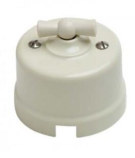 Выключатель 1-кл (проходной) B1-201-211 Bironi пластик, слоновая кость