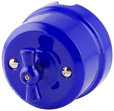 Выключатель 1-кл (проходной) ретро синий 340-С Lindas 2-х позиционный