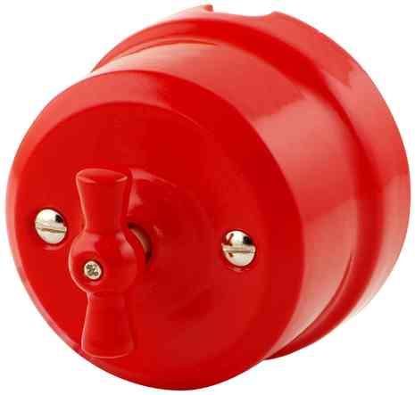 Выключатель 1-кл (проходной) ретро красный 340-К Lindas 2-х позиционный