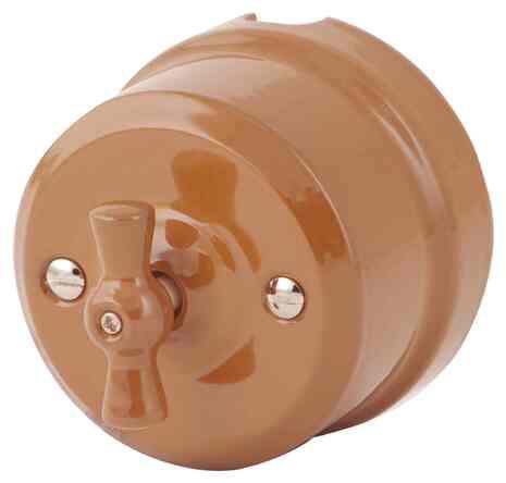 Выключатель 1-кл (проходной) Ретро молочный шоколад 340-МШ Lindas 2-х позиционный