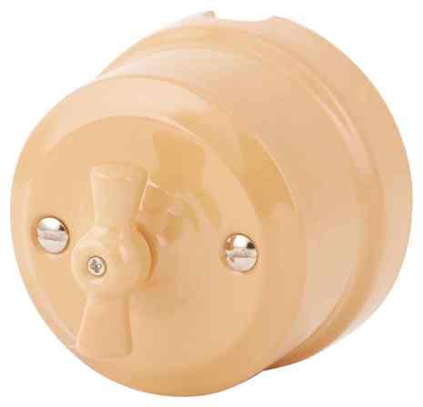 Выключатель 1-кл (проходной) ретро темно-персиковый 340-ТП Lindas 2-х позиционны