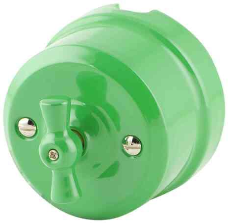Выключатель 1-кл (проходной) ретро зеленый 340-З Lindas 2-х позиционный