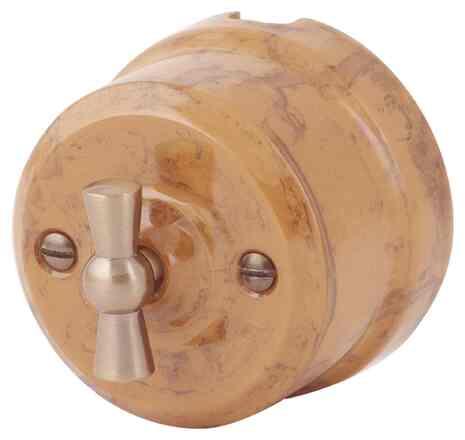 Ретро выключатель капучино 34130 Lindas двухклавишный