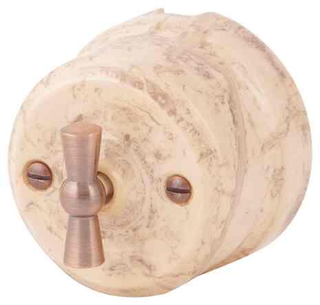 Ретро выключатель карамель 34131 Lindas двухклавишный