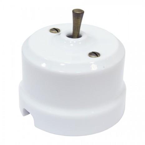 Выключатель 1-кл (проходной) тумблерный Lindas 34410-B, цвет белый/бронза