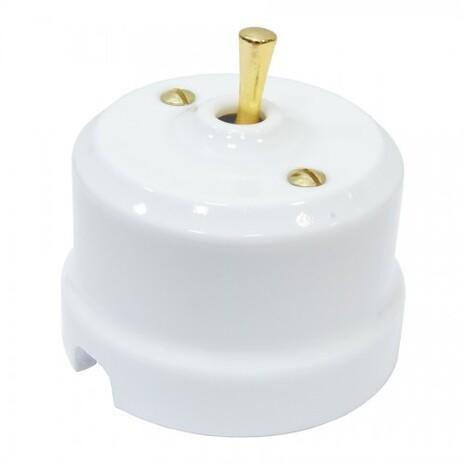 Выключатель 1-кл (проходной) тумблерный Lindas 34410-G, цвет белый/латунь