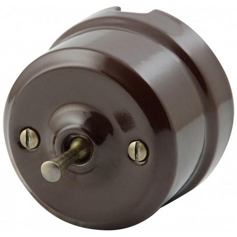 Выключатель 1-кл (проходной) тумблерный Lindas 34412-B, цвет коричневый/бронза