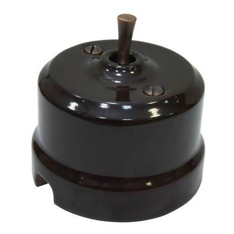 Выключатель 1-кл (проходной) тумблерный Lindas 34412-C, цвет коричневый/медь