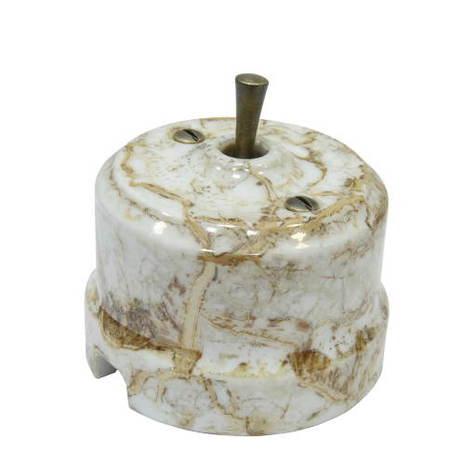 Выключатель 1-кл (проходной) тумблерный Lindas 34413-B, цвет мрамор/бронза