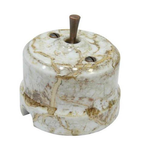 Выключатель 1-кл (проходной) тумблерный Lindas 34413-C, цвет мрамор/медь