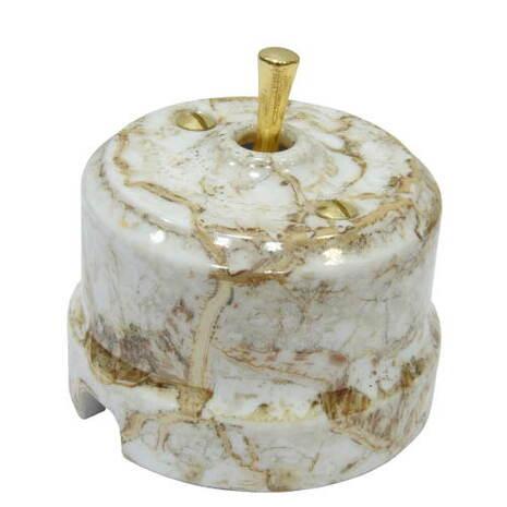 Выключатель 1-кл (проходной) тумблерный Lindas 34413-G, цвет мрамор/латунь