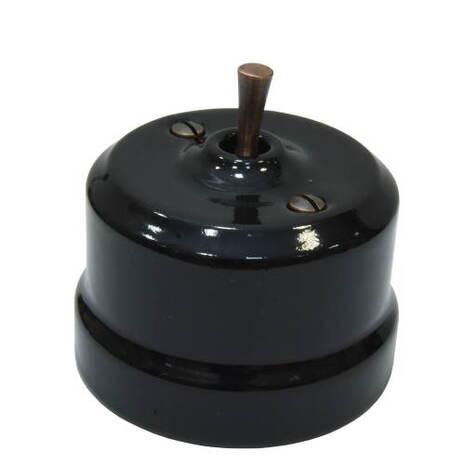 Выключатель 1-кл (проходной) тумблерный Lindas 34415-C, цвет черный/медь
