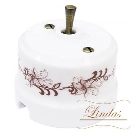Выключатель 1-кл (проходной) тумблерный Lindas 34417-B, цвет орнамент №1 (коричневый)/бронза