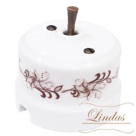 Выключатель 1-кл (проходной) тумблерный Lindas 34417-C, цвет орнамент №1 (коричневый)/медь