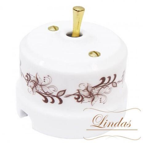 Выключатель 1-кл (проходной) тумблерный Lindas 34417-G, цвет орнамент №1 (коричневый)/латунь