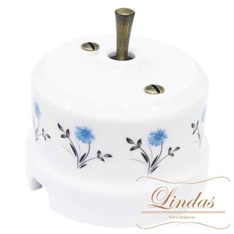 Выключатель 1-кл (проходной) тумблерный, ручка бронза  Lindas орнамент №2 (васильки)