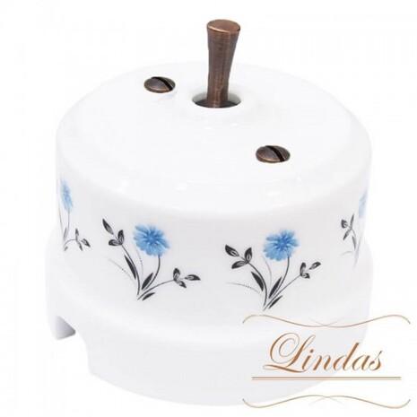 Выключатель 1-кл (проходной) тумблерный Lindas 34418-C, цвет орнамент №2 (васильки)/медь