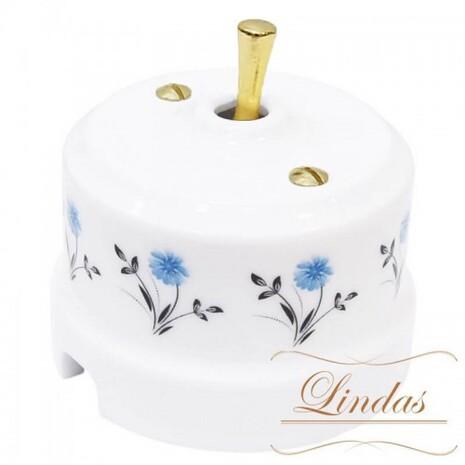 Выключатель 1-кл (проходной) тумблерный Lindas 34418-G, цвет орнамент №2 (васильки)/латунь
