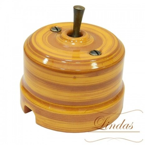 Выключатель 1-кл (проходной) тумблерный Lindas 34425-B, цвет бамбук/бронза