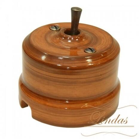 Выключатель 1-кл (проходной) тумблерный Lindas 34426-B, цвет орех/бронза