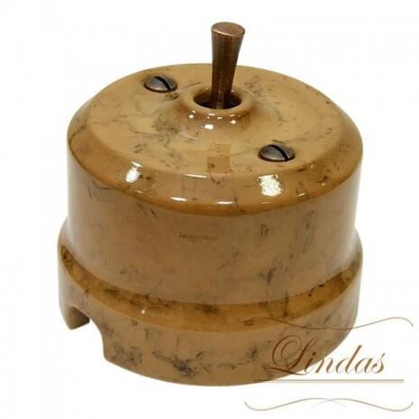 Выключатель 1-кл (проходной) тумблерный Lindas 34430-C, цвет капучино/медь