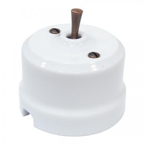 Выключатель 1-кл (проходной) тумблерный Lindas 34510-C, цвет белый/медь