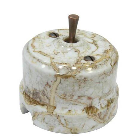 Выключатель 1-кл (проходной) тумблерный Lindas 34513-C, цвет мрамор/медь