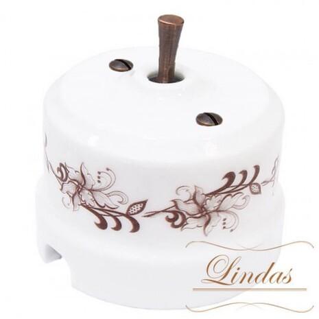 Выключатель 1-кл (проходной) тумблерный Lindas 34517-C, цвет орнамент №1 (коричневый)/медь
